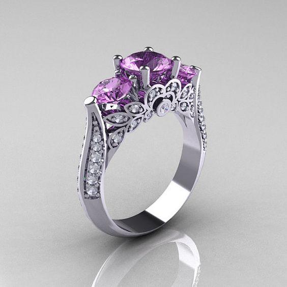 Classic 14K White Gold Three Stone Diamond Lilac Amethyst