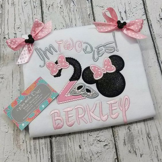 Personalized Minnie Mouse Girly Clubhouse Birthday Embroidery Applique Shirt or Onesie!