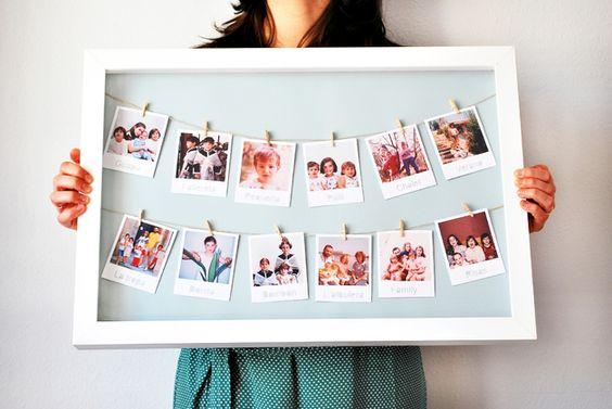 Bilderrahmen mit Wäscheleine für Fotos, originelles Fotobuch / different way of presenting memories and pictures, frames made by con M de merci via DaWanda.com