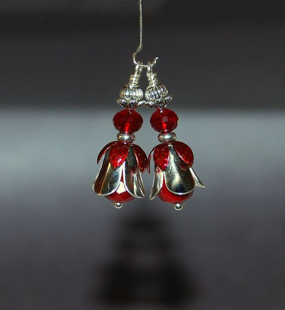 2 Red and Silver Flower by RainandSnowBeading on Etsy