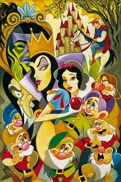 """""""The Enchantment of Snow White"""" by Tim Rogerson - Limited Edition of 195 on Canvas, 36x24.  #Disney #SnowWhite #EvilQueen #DisneyFineArt #TimRogerson"""