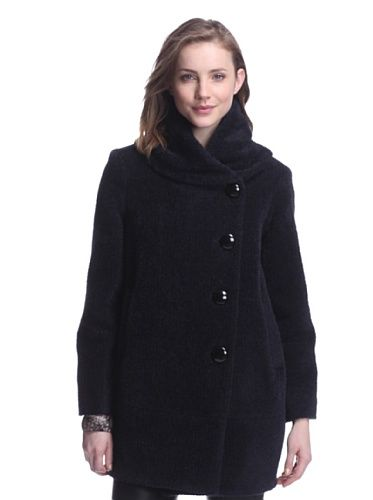 Sofia Cashmere Women&39s Cocoon Coat with Rolled Collar (Black/Blue
