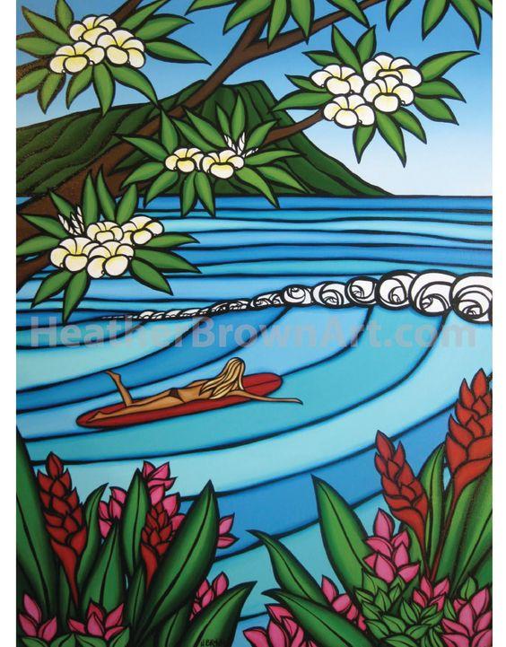 Waikiki Surf Girl..........Surf Art by Heather Brown