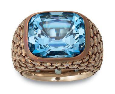 Hemmerle ring copper, white gold, aquamarine, brown diamonds