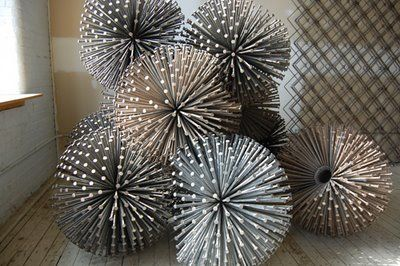 """'Plode', by John Bisbee, 2002  (made from welded 12"""" spikes and set in his Brunswick, Maine studio)."""