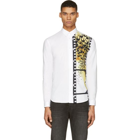 Mcq Alexander Mcqueen: White Swallow Filmstrip Shirt