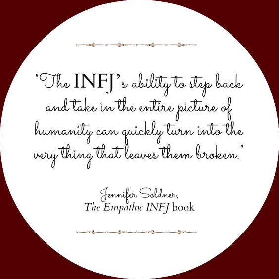 INFJ ... why the news can't be watched in my house.
