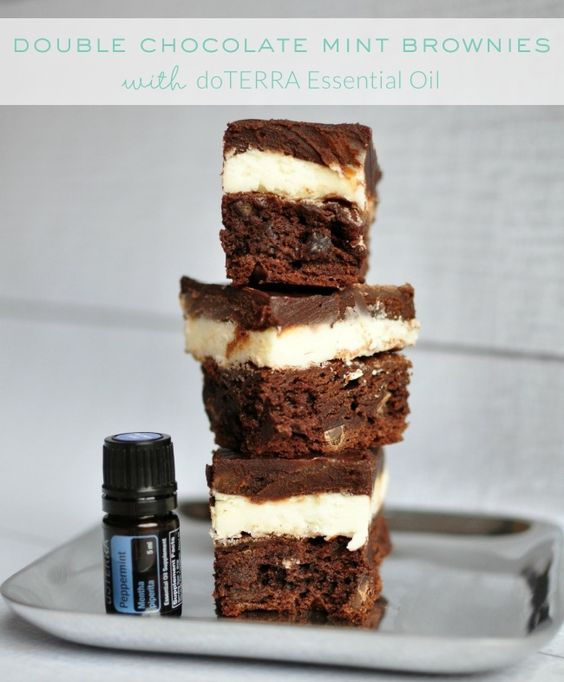 Double Chocolate Peppermint Brownies made with DoTERRA Essential Oil