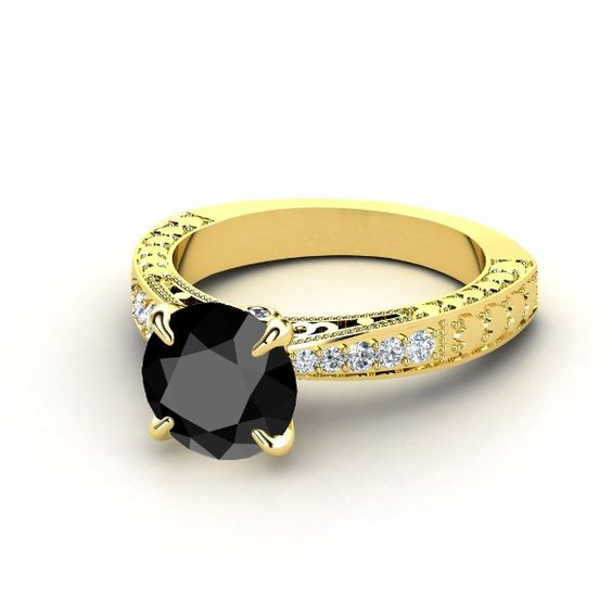 Yellow gold ring with black diamond