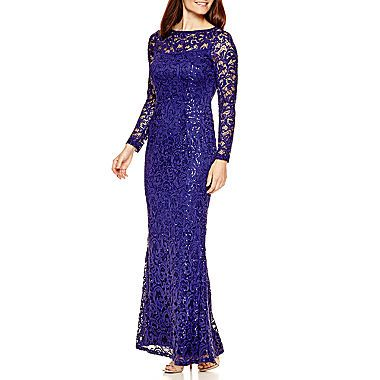 Blue Sage Long-Sleeve Lace Formal Gown