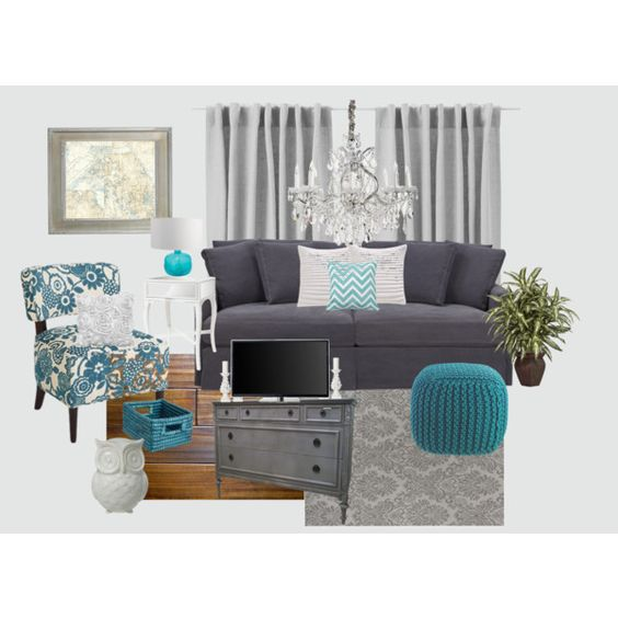 Gray And Teal Living Room By Jurzychic On Polyvore