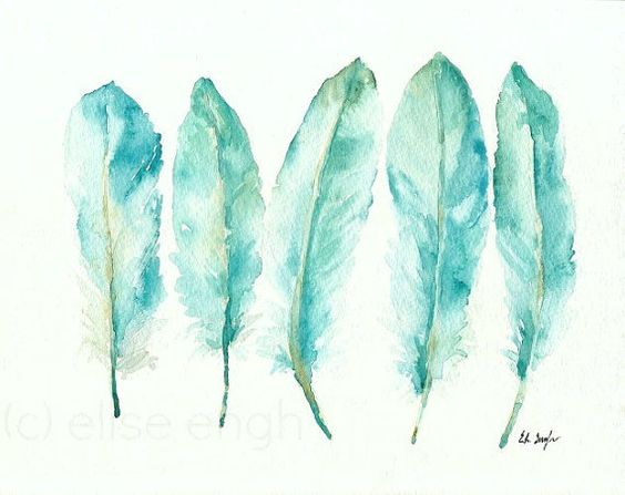 Blaue Gans Federn Malerei, Aquarell-Giclée-Druck, Archivierung, blaugrün, grün, Vogelkunst