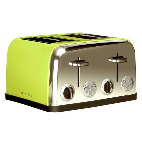 Spectrum Lime 4 Slice Toaster | Dunelm