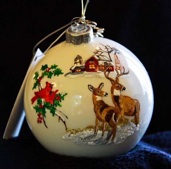 HAND PAINTED ORNAMENT - DEER AND CARDINALS - ITEM 360