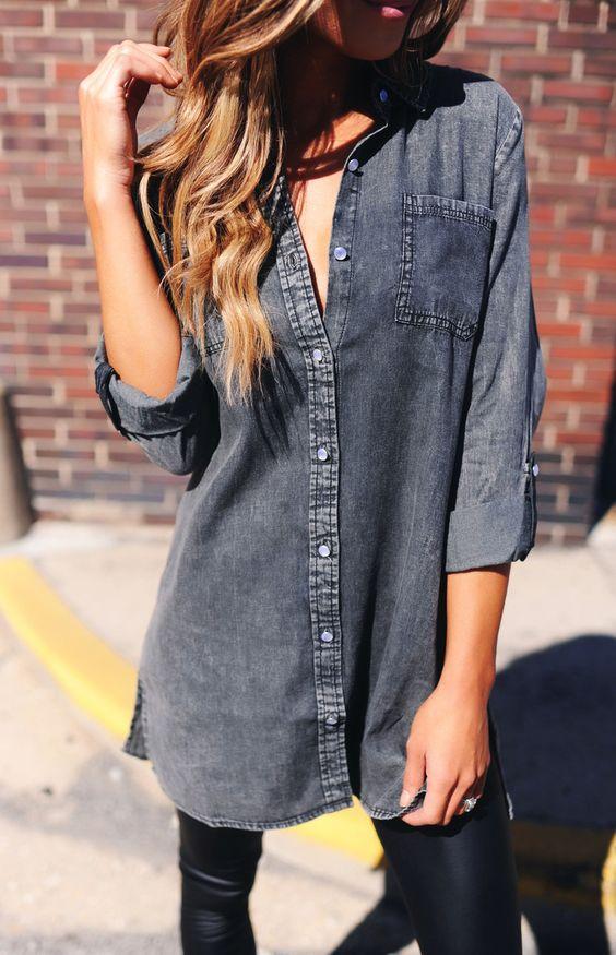 Black Acid Wash Button Up Tunic - Dottie Couture Boutique