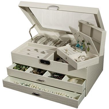 Ivory Locking Glass-Top Jewelry Box