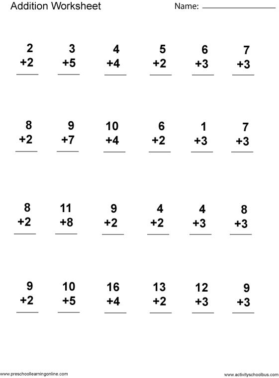 Free Kindergarten Math Worksheets Addition Pictures Preschool
