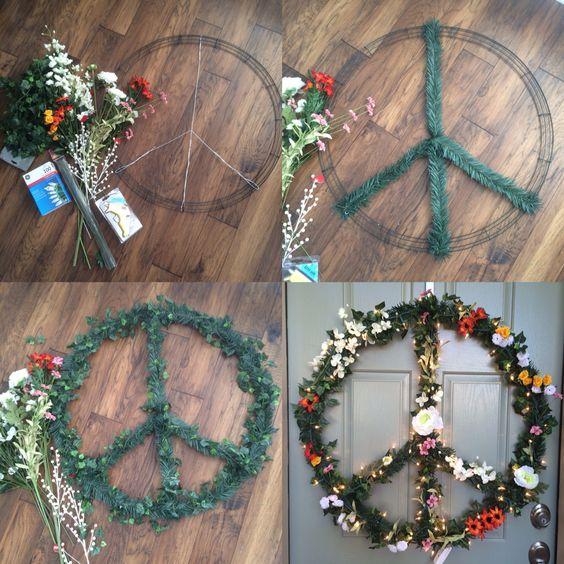 """DIY Christmas peace wreath - 32"""" Flower Child Hippie Peace Sign Wreath - by Rachael Bower"""