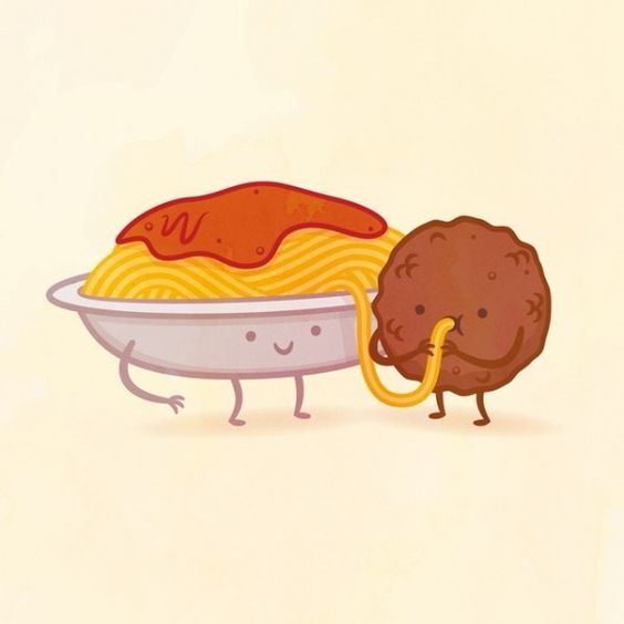 """I got spaghetti and meatballs ""  Which Adorable Food Pair Are You And Your Best Friend"
