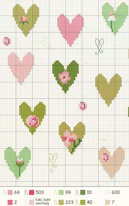 cross stitch heart chart: