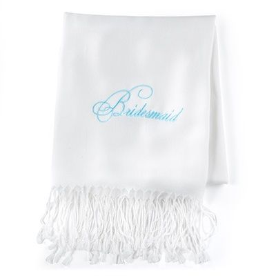 "Bridesmaid - Pashmina - Blank - White This white scarf made of fine-quality material features a ""Bridesmaid"" design embroidered in aqua."