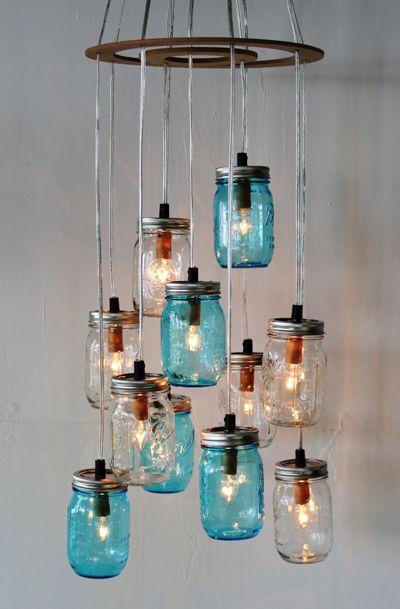 Mason Jar Cluster Chandelier - Upcycled
