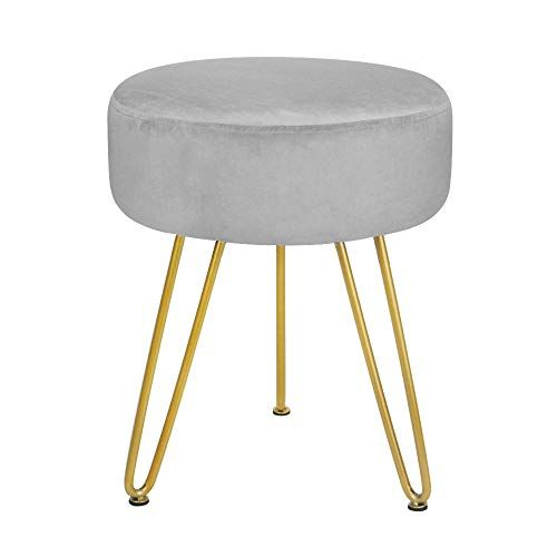 Ottoman Foot Stool Velvet Vanity Seat Round Footrest Stool Dressing Chair Grey