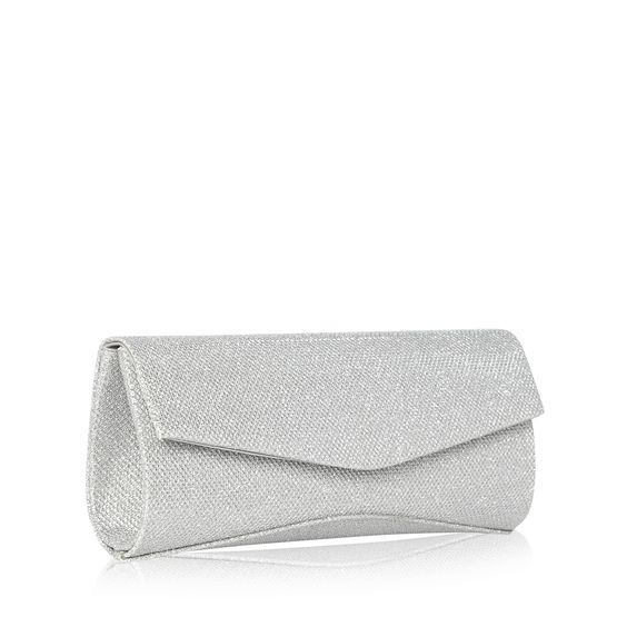 This silver glitter clutch is perfect for glamorous occasions. From Debut, it has a flap over popper fastening and a chain hand strap.