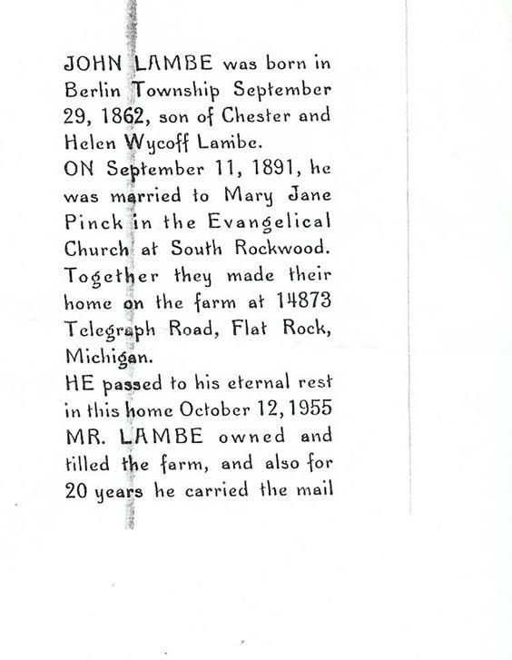 Obituary of John Lambe, born September 29,1862. Died October 12, 1955.  Lambe John