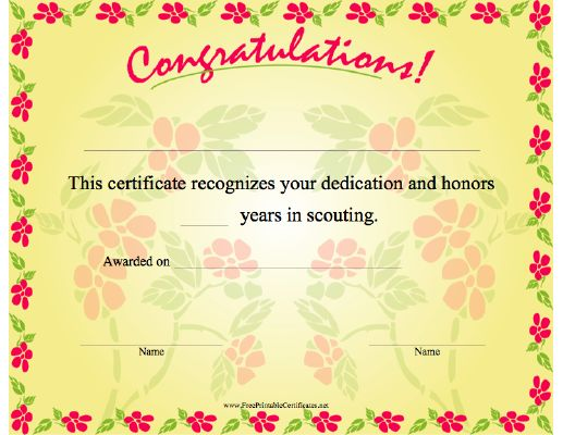 Free Congratulations certificate w\/ # of years in girl scouts - congratulations certificate