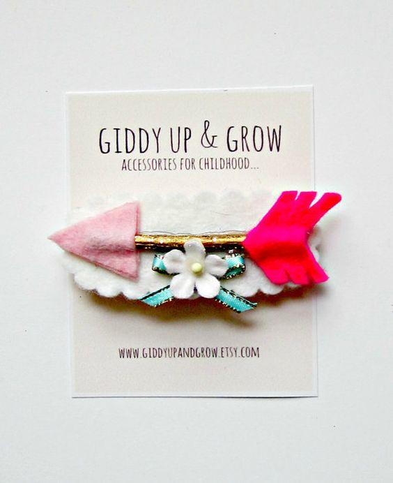 Felt Hair Clip Arrow FRENCH BARRETTE Valentines by giddyupandgrow