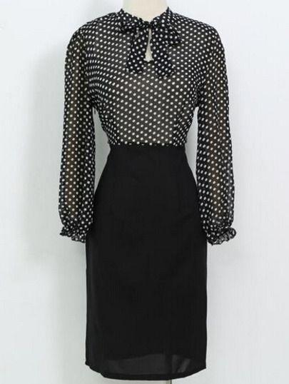 Black Long Sleeve Polka Dot Tie Dress -SheIn(Sheinside) Mobile Site