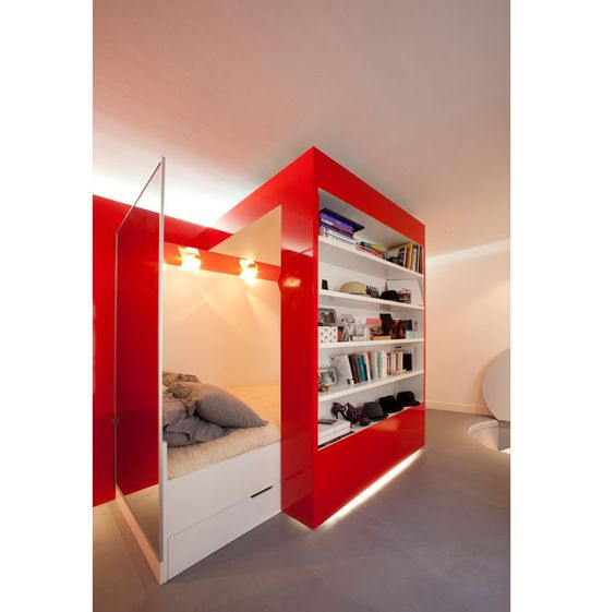 Functional Studio Apartment: Red Nest by Coudamy Architects