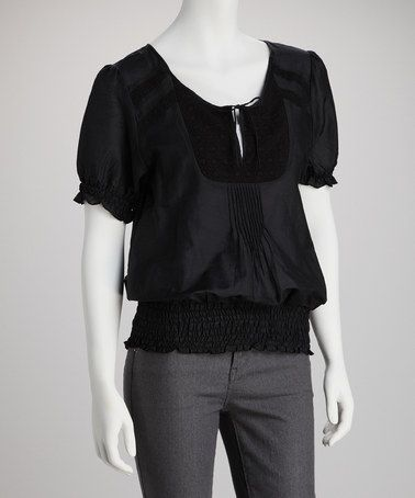 Take a look at this Black Lace Crocheted Peasant Silk-Blend Top by Glam Vintage on #zulily today!