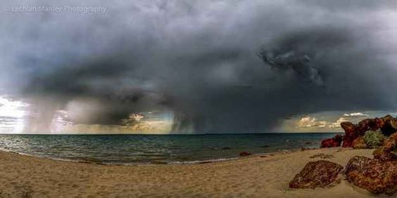 Fancy a nice afternoon down the beach waiting for a tornado to touch down? At Bellarine Peninsula, Victoria.