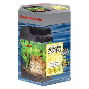 Marineland 5 gallon eclipse hexagon aquarium aquariums for Petsmart fish tank filters