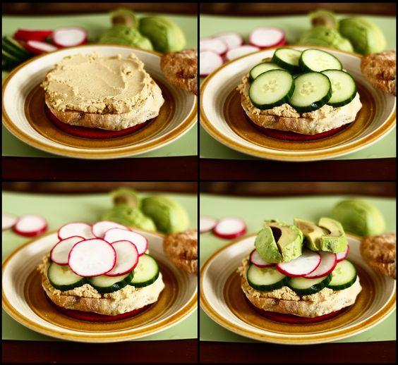 Hummus-veggie sandwich