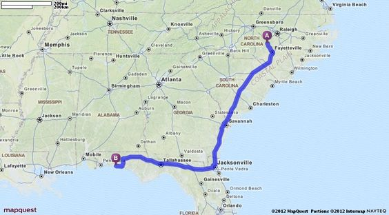 Driving Directions from Sanford North Carolina to