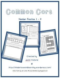 Common Core Number Practice: Numbers 1 to 9