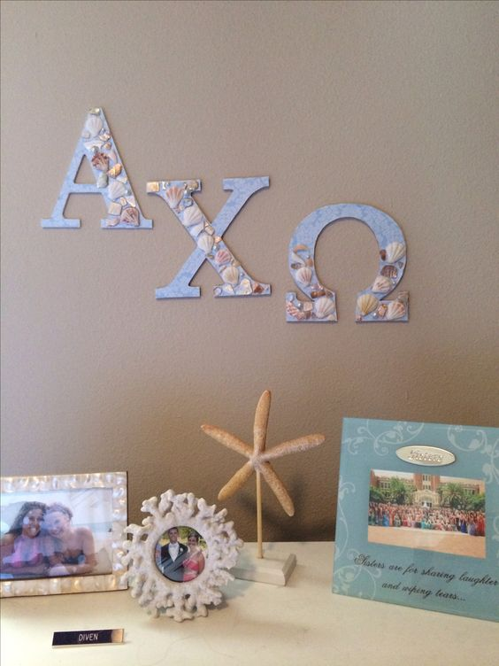 Alpha chi omega sorority letters in my beach theme room