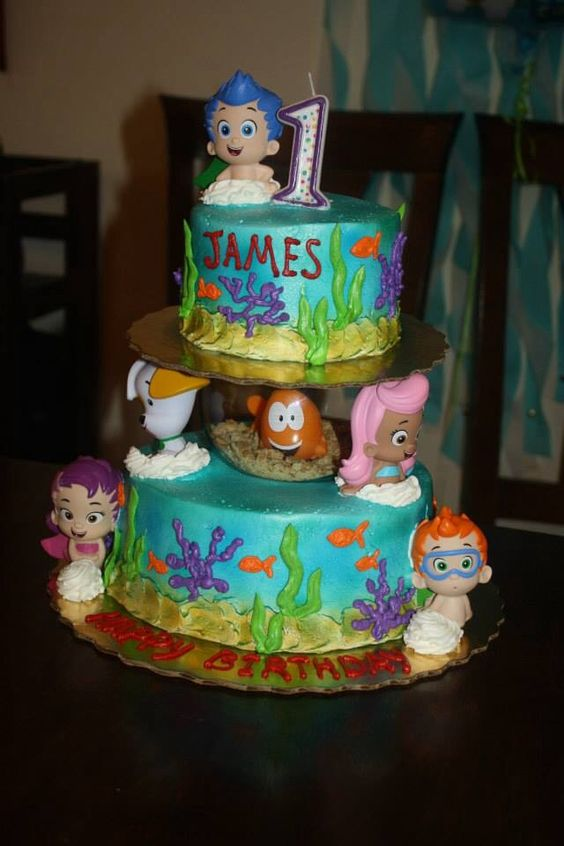 Bubble guppies birthday cake with fish bowl birthday for Bubble guppies fish