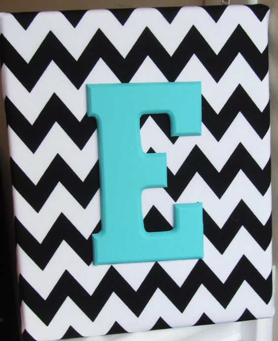 8x10 Black And White Chevron Custom Name Decoration For