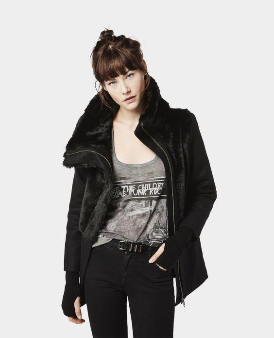 manteau empi cement en fourrure manteaux femme the. Black Bedroom Furniture Sets. Home Design Ideas