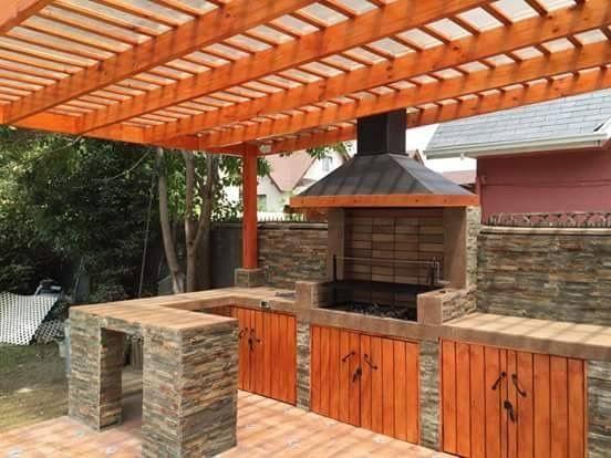 Resultado De Imagen Para Modelos De Pergolas Rusticos Para Asados Pergola Outdoor Grill Station Outdoor Kitchen Plans