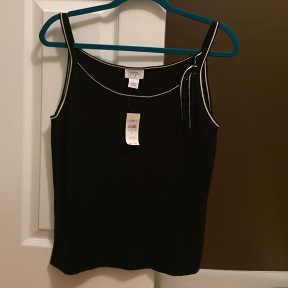 Ann Taylor Loft shirt Black tank with white trim around the arms and neck, bow to the left arm strap (see picture) 100 percent cotton. Ann Taylor Loft Tops