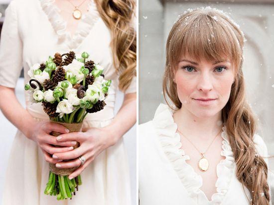 white, brown, burlap bouquet