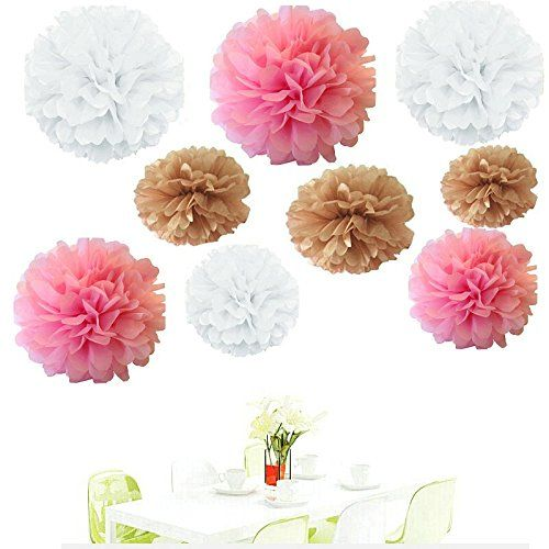 Since 18pcs of 8 10 14 3 colors mixed white tan pink tissue since of 3 colors mixed white tan pink tissue paper flowers tissue paper pom pomswedding party monday deal newsletter click here mightylinksfo