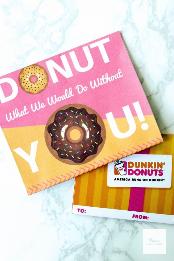 "National Donut Day is one of the sweetest days on the calendar and it's this Friday!  Say thank you to those special people in your life by including this ""Donut What We Would Do Without You"" printable and win this $50 Dunkin Donuts gift card to help with the fun!  #sponsored"