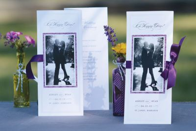Tri-fold Program with picture on front and tie around ribbon