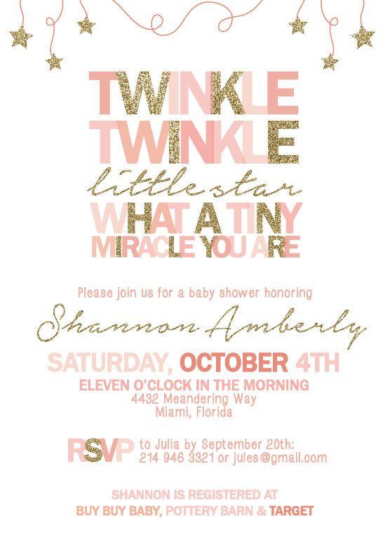 Printable Twinkle Twinkle Little Star Invitation Pink